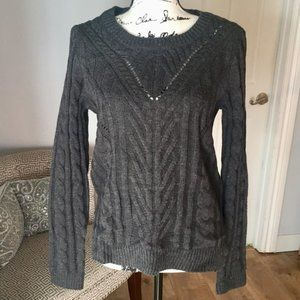 Hippie Rose cable knit charcoal pullover sweater
